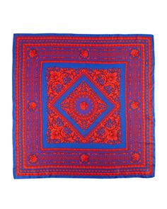 Scroll-Print Silk Scarf, Red/Blue by Versace at Last Call by Neiman Marcus.