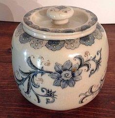 Andrea by Sadek Ornate Porcelain Blue Flower Ginger Cracker Jar Crackle Glaze #AndreabySadek