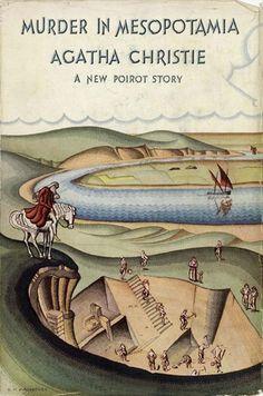Agatha Christie's novel Murder in Mesopotamia Hercule Poirot Best Book Covers, Vintage Book Covers, Book Cover Art, Best Crime Novels, Mystery Novels, Agatha Christie's Poirot, Hercule Poirot, Best Mysteries, Cozy Mysteries