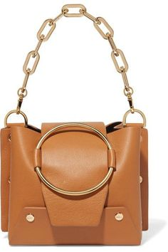 Tan leather (Calf) Snap-fastening front flap Weighs approximately Made in Spain Alexa Chung, Tan Leather, Leather Shoulder Bag, Calves, Pumps, Mini, Spain, Bags, Women's Fashion