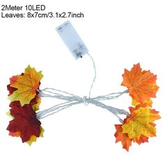 2M 10LED Artificial Autumn Maple Leaves Garland Led Fairy Lights for Christmas Decoration Thanksgiving Party DIY Decor Halloween - Style5