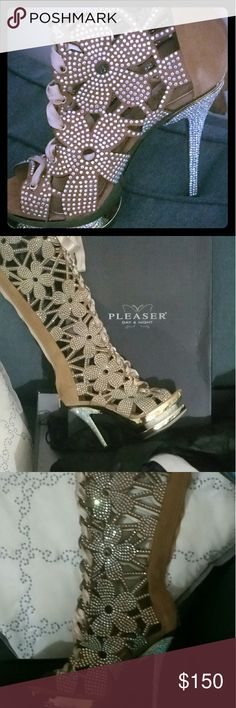 """Pleaser Fantasia-2020 6""""heel, 1 1/2 Dual PF, Knee High, gold plated boots. Only wore once for a photo shoot. Comes with original packaging. Pleaser  Shoes Over the Knee Boots"""