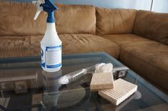 microfiber 14. Microfiber is nice and soft, but it is hard to keep clean. Fill a spray bottle with rubbing alcohol and spray the couch. Use a white sponge to rub the couch. After you've done this, use a hard bristle brush to 'fluff' the fibers. It'll look brand new!