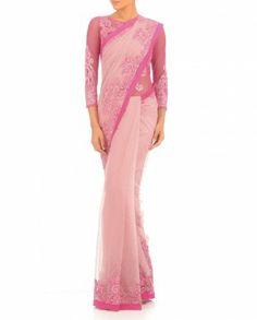 Rose   Baby Pink Sari Gown By Varun Bahl  915 654c74342e7