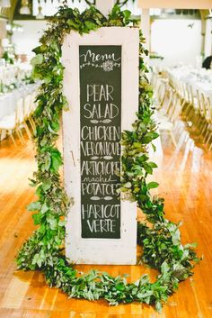 DIY chalkboard wedding sign: http://www.stylemepretty.com/california-weddings/2014/11/21/romantic-wedding-at-the-loft-on-pine/ | Photography: Onelove - http://www.onelove-photo.com/