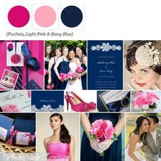 A palette of fuschia, light pink, and navy blue. Perfect for a modern themed wedding during the summer time months. Perfect palette in which to incorporate vintage touched into a theme of modern and simplistic color-blocking