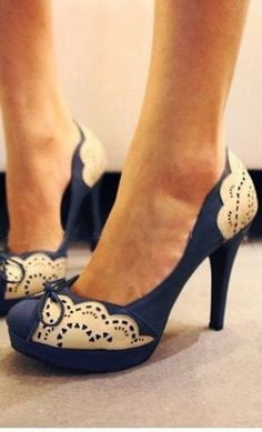 Beautiful  Blue Lace Heels