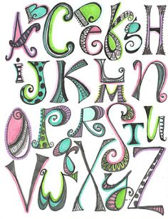 Creative Lettering by WENDEE PHILLIPS DEAL of Just Playin' Around.    Includes link to online lettering course.