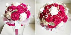 bukiet z kwiatów z krepiny różowo biały więcej na kwiatyupominki.net