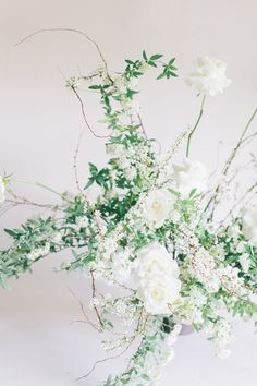 simple green and white wild wedding florals