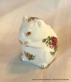 """Excellent Vintage Royal Albert Old Country Roses Bone China Mouse Dormouse 1962    Royal Albert figurine.  Made of bone china & marked, """" Old country Roses, Royal Albert, Bone China, England, Royal Albert Ltd. """".  Measures about 2-1/4"""" tall."""