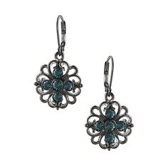 $16 - Featuring floral filigree in a gunmetal tone accented with Montana blue crystals. Charming and delicate.