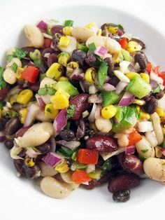 Food So Good Mall: Spicy Three Bean Salad with Roasted Red and Yellow Peppers