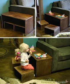 Modern End Play Table and Stools. How to build this modern, simple dual-purpose table for less than $50.