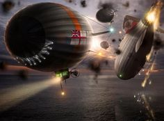 Steampunk Airship, Dieselpunk, Zeppelin, City Of Columbia, Fluid Dynamics, Steampunk Design, Neo Victorian, Historical Images, Sci Fi Fantasy