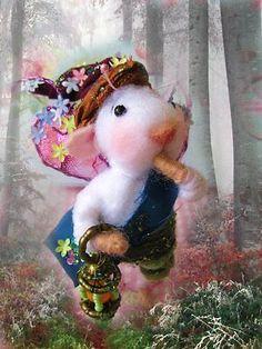 Nostalgie Mäuse Elfen Junge, gefilzt,Filzmaus, Landhaus/Shabby-Tilda-Art, Ooak
