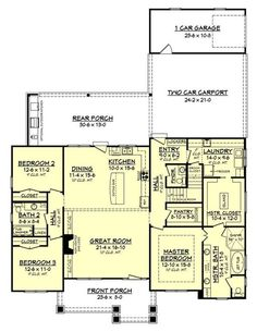 Craftsman Style House Plan - 3 Beds 2.5 Baths 2151 Sq/Ft Plan #430-141 Floor Plan - Main Floor Plan - Houseplans.com