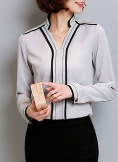 spring kimono casual women's hit color long sleeve chiffon blouses ladies white v-neck blouse body shirt blusas camisa feminina *** AliExpress Affiliate's Pin. Clicking on the image will lead you to find similar product Neckline Designs, Blouse Designs, Fashion Wear, Women's Fashion Dresses, Office Uniform For Women, Formal Tops, Designer Kids Clothes, Korean Dress, Blouses For Women