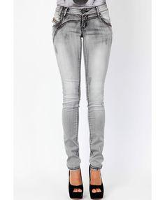 Stonewash, gray skinny jeans