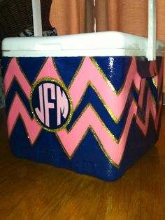 Cute chevron decorated cooler. Use your #school colors for #gameday! #thegame https://www.facebook.com/thegamefanzone