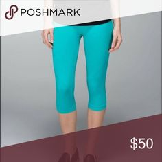 NWT Lululemon Zone in teal crops New without tags teal Lululemon crops size 2 lululemon athletica Pants Ankle & Cropped