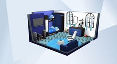 Check out this room in The Sims 4 Gallery! - For the sim who loves blue. #NOCC #MOO #blue #bedroom #guy #men #man #boy #bunkbed #teen #nikkamore #sims4 #sexy #celebrity #cool #cute #modern #space #rockets