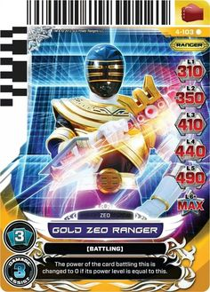 Gold Zeo Ranger Power Rangers Trading Card