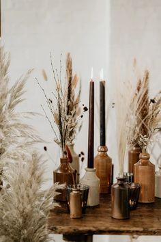 Boho Wedding, Wedding Table, Fall Wedding, Dream Wedding, Wedding Centerpieces, Wedding Decorations, Brown Candles, Pampas Grass, Event Decor