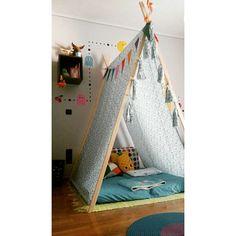 Our little boy's bedroom. Handmade 'A' tent.  Pac_man wall sticker.