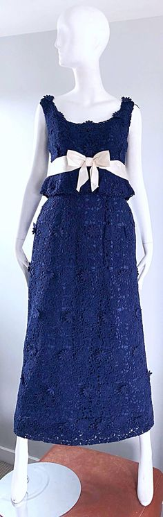 ad4fc3e1d Bob Bugnand Couture 1960s Navy Blue Crochet Lace Vintage 60s Belted Gown  For Sale at 1stdibs