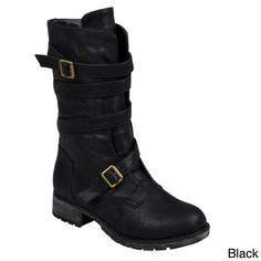 Hailey Jeans Co. Women's 'Jennica' Buckle-Strap Mid-Calf Motorcycle Boots - Overstock Shopping - Great Deals on Hailey Jeans Co. Brown Boots, Black Boots, Women's Motorcycle Boots, Motorcycle Fashion, Shoe Deals, Mid Calf Boots, Ankle Boots, Wedge Boots, Cool Boots
