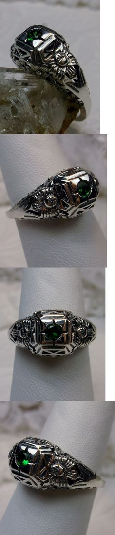 Rings 52603: Edwardian *Emerald* Sterling Silver Garden Filigree Ring Size: {Made To Order} BUY IT NOW ONLY: $35.0