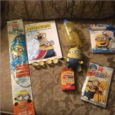 Minions Easter gift basket Minions kite  Minions coloring book Crayons 4 rubber minions balls Minions squirt cup Minions magic ink book Minions grab my go Stuff clip on minions  Wrap in plastic with ribbon Other