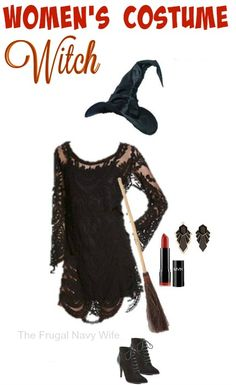 Women's Witch Costume - Made From Everyday Clothes - The Frugal Navy Wife