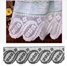 Risultati immagini per Lily altar filet crochet Stitch Crochet, Filet Crochet Charts, Crochet Lace Edging, Crochet Borders, Knitting Charts, Crochet Squares, Crochet Doilies, Crochet Stitches, Free Crochet