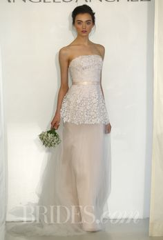 Brides.com: Angel Sanchez - Spring 2014. Strapless gown with hand cut floral embroidery and satin ribbon at waist, Angel Sanchez