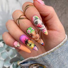 Cute Gel Nails, 3d Nails, Pretty Nails, Acrylic Nails, Stiletto Nails, Cartoon Nail Designs, Disney Nail Designs, Simple Disney Nails, Simple Nails