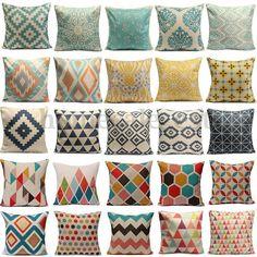Pillows Vintage Geometric Flower Linen Cotton Pillow Case Cushion Covers Home Sofa Decor & Garden Couch Cushion Covers, Cushions On Sofa, Patio Pillows, Geometric Flower, Geometric Pillow, Pillow Cover Design, Decorative Pillow Covers, Linen Pillows, Cotton Pillow