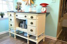 Repurposed Desk to Island - DIY Furniture Makeovers Repurposed Desk, Upcycled Furniture, Furniture Projects, Furniture Making, Furniture Makeover, Painted Furniture, Diy Furniture, Cottage Furniture, Repurposed Items