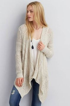AEO Cascading Open Cardigan by AEO | The perfect layer over all your favorite dresses. Shop the AEO Cascading Open Cardigan and check out more at AE.com.