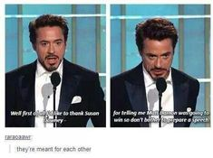 "Replace ""susan Downey jr"" with ""pepper Potts"" and it's like him & iron man are one and the same <-- she wouldn't be Downey jr! He's only Robert Downey Jr because his father was Robert Downey. His surname isn't ""Downey Jr"" 😂 Funny Marvel Memes, Marvel Jokes, Dc Memes, Avengers Memes, The Avengers, Funny Memes, Hilarious, Funniest Memes, Funny Tweets"