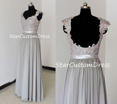 Grey long lace bridesmaid dresses a-line with cap sleeves,Silver chiffon bridesmaid dress,lace open back sexy bridesmaid dress by StarCustomDress on Etsy https://www.etsy.com/listing/197794411/grey-long-lace-bridesmaid-dresses-a-line