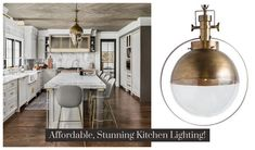 One of the most gorgeous kitchens that we've seen, created by Amy Storm of Amy Storm and Co featuring our Antique Brass Globe Pendants.   #glassandbrassglobe #modernbrasskitchenlighting #designstorm #amystormdesigner #glassbrassglobependant #modernbrasskitchenlighting #openairykitchen #overislandkitchenlighting #brasskitchen #llucitekitchen