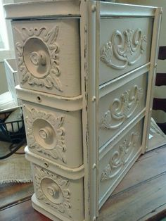 I'm truly a sucker for old sewing machine drawers. I couldn't salvage the finish on this set so I decided to paint them. Very pleased with the outcome!   https://www.facebook.com/mariassalvagedtreasures?ref=hl