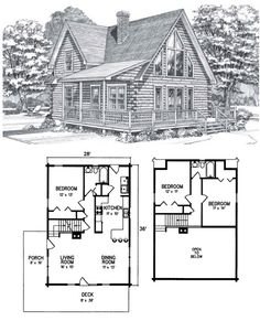 Spectacular front gable windows add a panoramic view to the cathedral dining / living room. The wrap-around deck adds beauty and function. Log Cabin Floor Plans, Cabin Plans, Small House Plans, House Floor Plans, Lakeview Cabin, Prefab Cabins, Pole Barn Homes, Cabins And Cottages, Log Homes