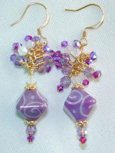 Orchids SCROLLED Handmade LAMPWORK Bead EARRINGS