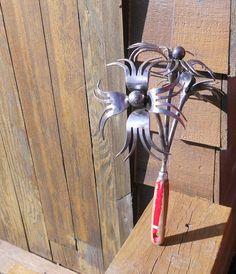 Fork Flower Metal Sculpture Bouquet Yard Art by rustaboutcreations, $54.75