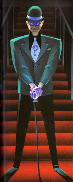 "First reveal of The Riddler in Batman: The Animated Series, by  John Calmette, from the episode ""If You Are So Smart, Why Aren't You Rich?"""