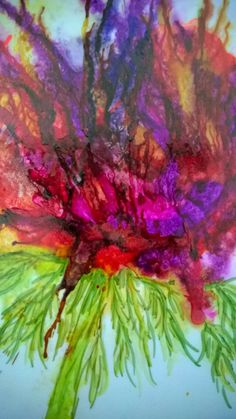 alcohol ink  flower on yupo-sjf