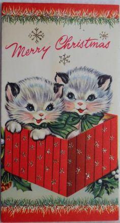 #336 50s Glittered Kitty Cats-Vintage Christmas Greeting Card Vintage Greeting Cards, Vintage Christmas Cards, Retro Christmas, Vintage Holiday, Christmas Greeting Cards, Christmas Greetings, Holiday Cards, Holiday Time, Christmas Kitten
